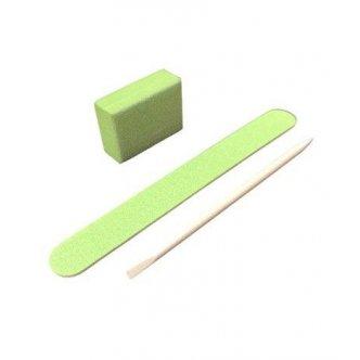 фото - Одноразовый набор для маникюра 120/120, цвет зелёный (пилка, мини баф, апельсиновая палочка)  , Kodi