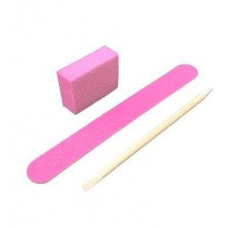 фото - Одноразовый набор для маникюра 120/120, цвет розовый (пилка, мини баф, апельсиновая палочка)  , Kodi